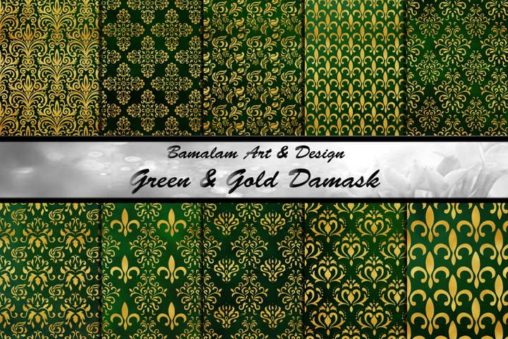 Green & Gold Damask Patterns