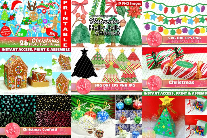 BUNDLE Christmas Crafts, Set of 14 Crafts Projects