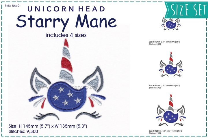 Unicorn Head Starry Mane Applique Embroidery Design