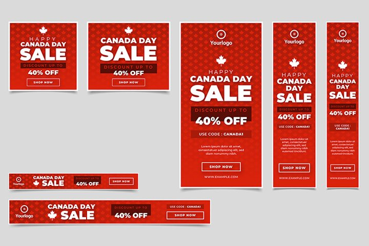 Canada Day Sale Banner Layout Set