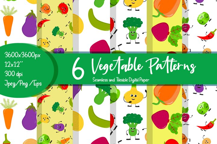 Vegetable patterns. Vegetable digital paper