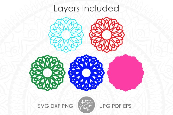 3D Layered mandala SVG, 3D paper sculpture, layered vinyl example 1