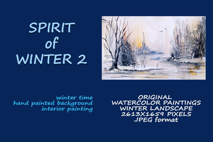 Spirit of winter 2. watercolor painting landscape