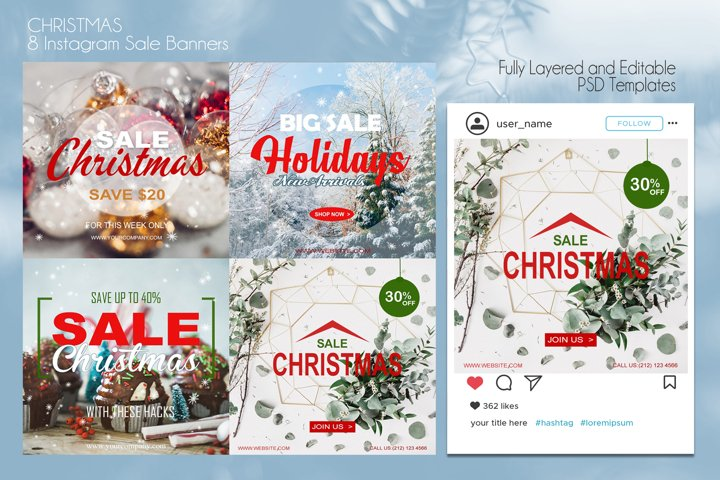 ROMANTIC ! 8 Christmas Instagram Sale Banners PSD