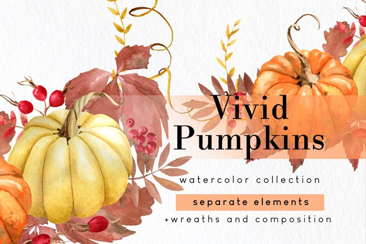 Watercolor pumpkin clipart set with png fall wreath