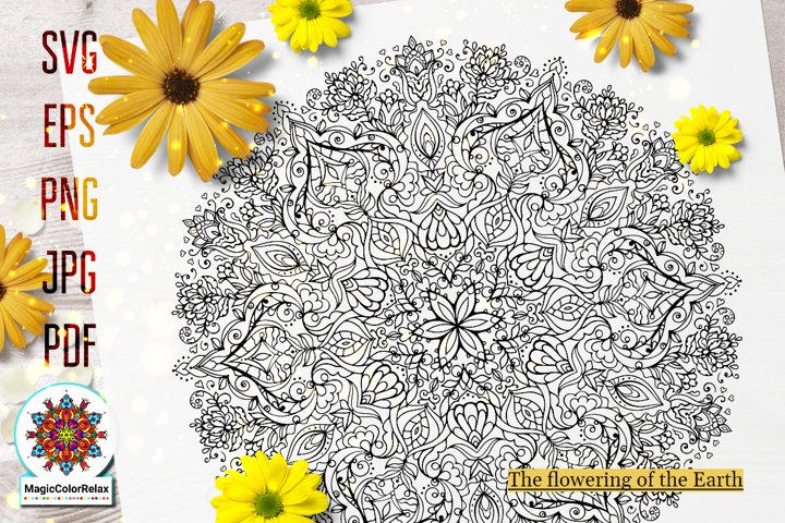 Mandala svg files for Coloring, The flowering of the Earth