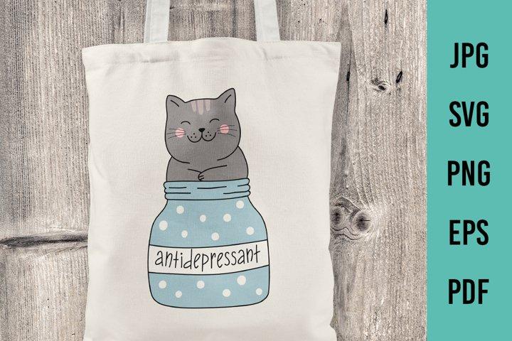Cat antidepressant SVG, Cute Cat Cut File Gift for pet lover