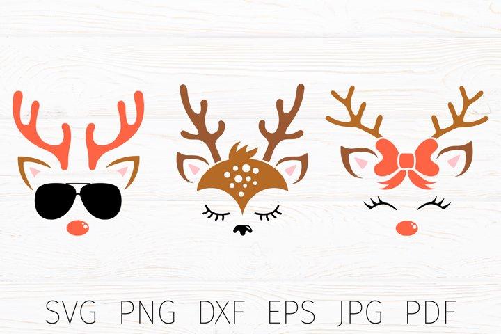 Reindeer svg, reindeer face cut file, christmas svg ormament