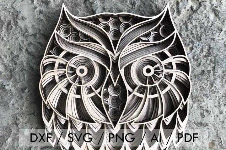 Cut File - Multilayer Owl Mandala Versatile Pattern