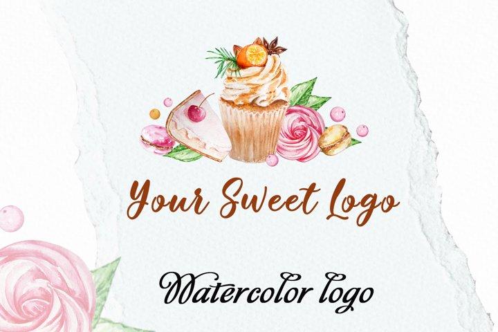 Cupcake Watercolor Logo, Premade logo