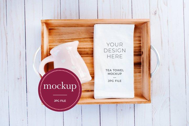 Tea Towel Mockup, Flour Sack, White Kitchen Towel