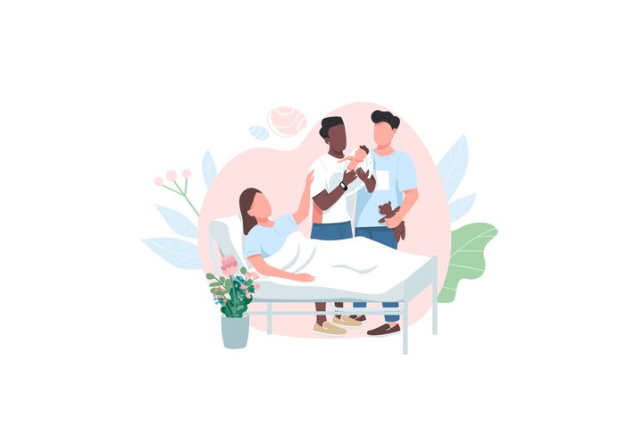 Surrogate mom with gay couple flat color vector characters