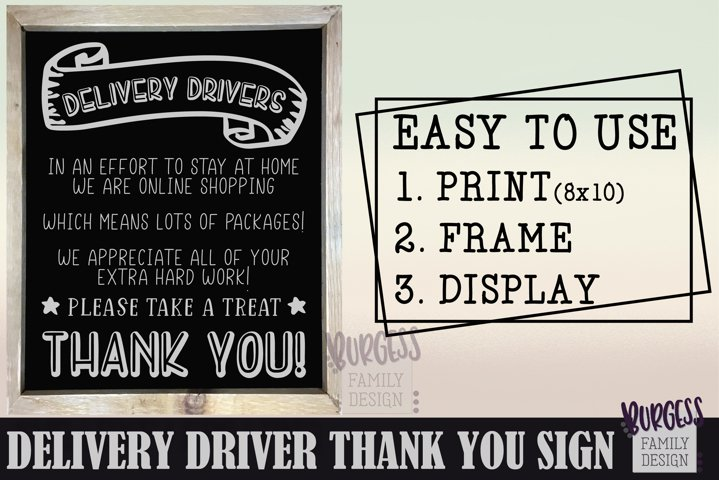 Delivery driver thank you sign |Printable & Cuttable