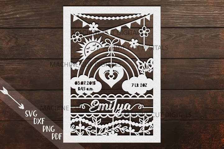 Baby birth announcement card frame paper laser cut template