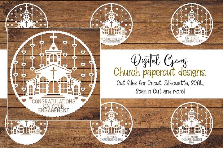 Church paper cut design bundle. SVG / DXF / EPS / PNG files.
