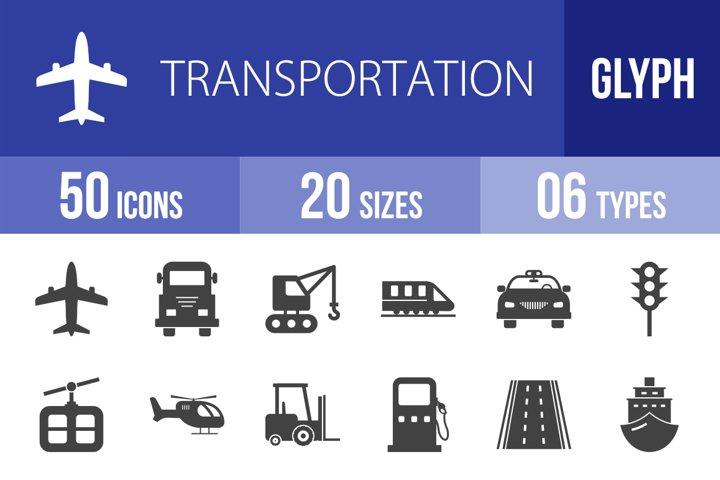 50 Transportation Glyph Icons Season II