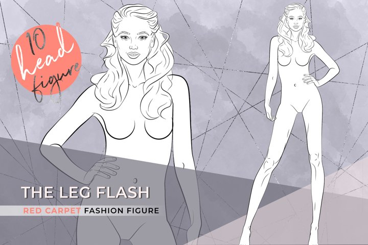The Leg Flash  Elegant Fashion Figure template 10 heads