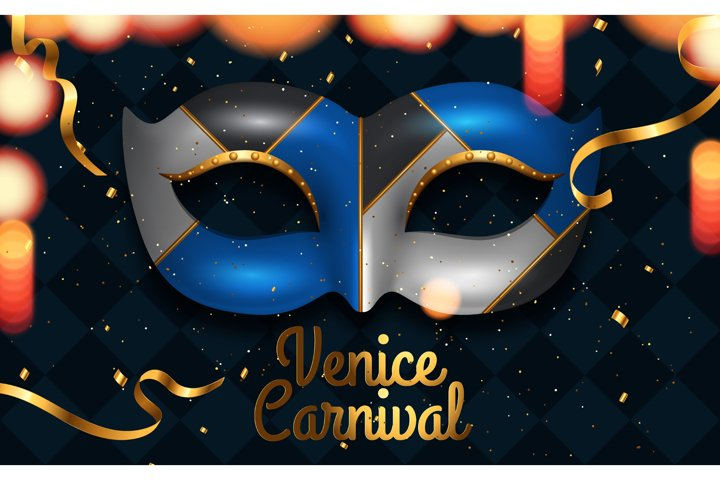 Mardi Gras mask, colorful poster
