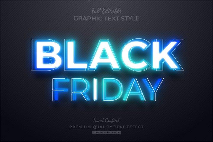 Black Friday Blue Neon Editable Text Style Effect Premium
