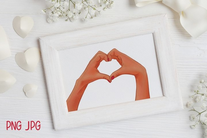Woman hands with heart gesture Valentines Day Sublimation