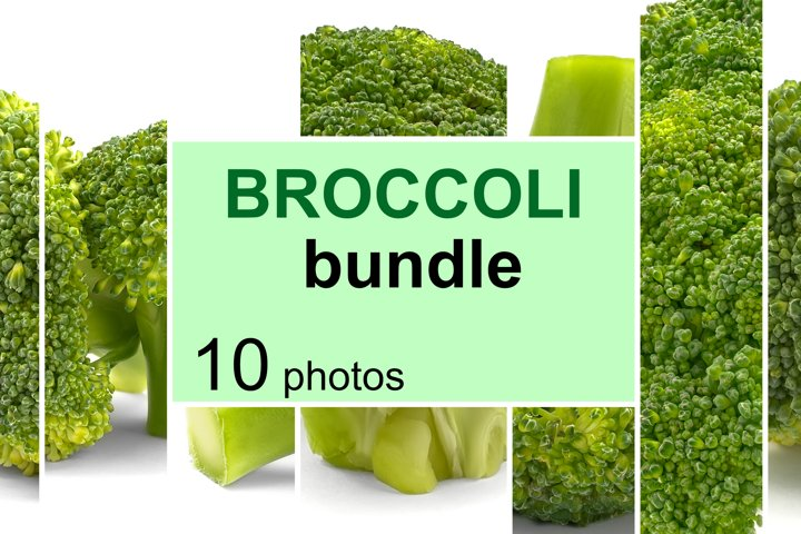 Fresh broccoli, isolated on white. Bundle of 10 photos