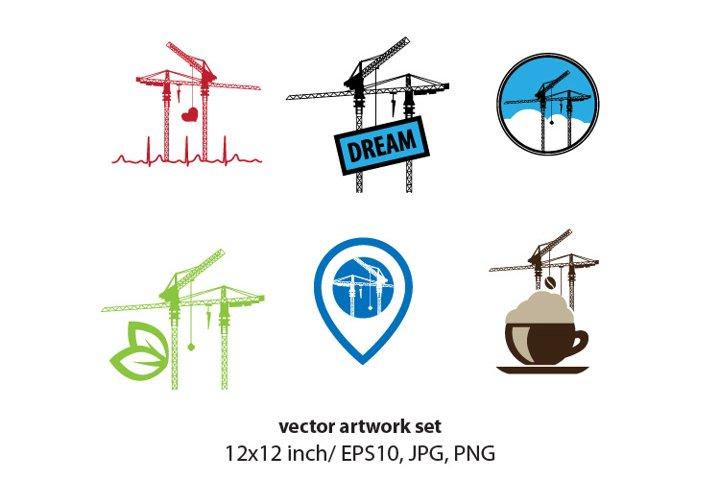 construction cranes- vector artwork set