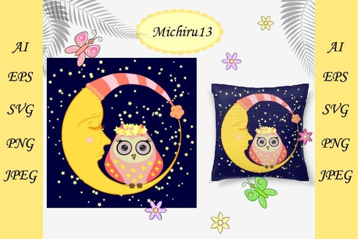 Cute cartoon owl sits on a drowsy crescent