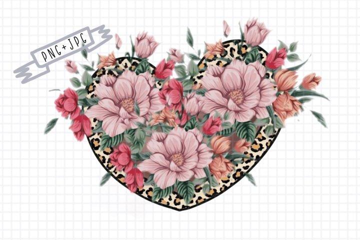 Sublimation flower heart leopard-leopard print -heart png