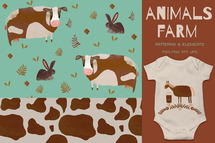 Animal Farm Watercolor Pattern cow