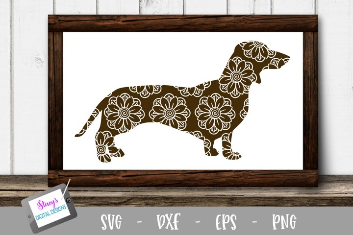 Dog SVG - Dachshund with floral mandala pattern