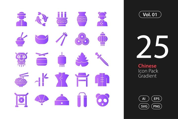 Chinese Icon Gradient SVG, EPS, PNG