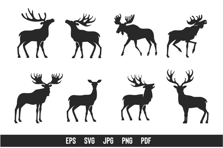 Christmas Deers graphics. Woodland silhouettes. Antlers