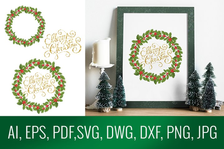 Vector holly twigs frame with lettering Merry christmas