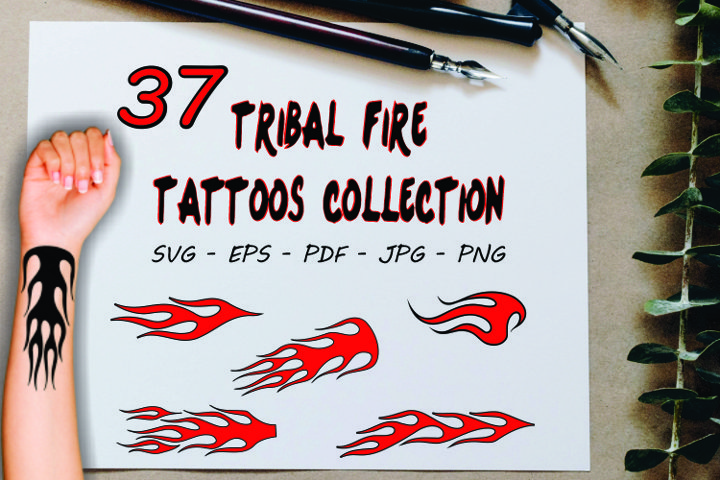 37 Fire flame tribal tattoo designs