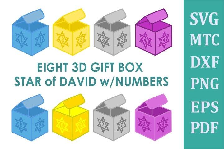 Hanukkah 3D Gift BOX Star David Number 8 Boxes SVG Cut File