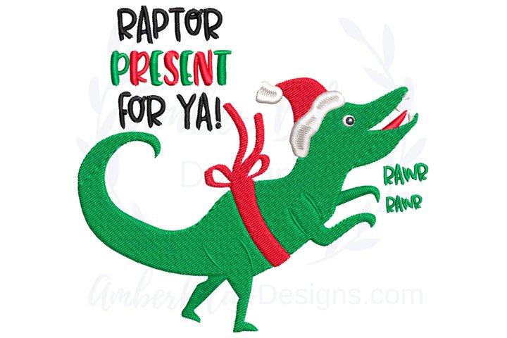 Raptor Present Christmas Dinosaur Embroidery File