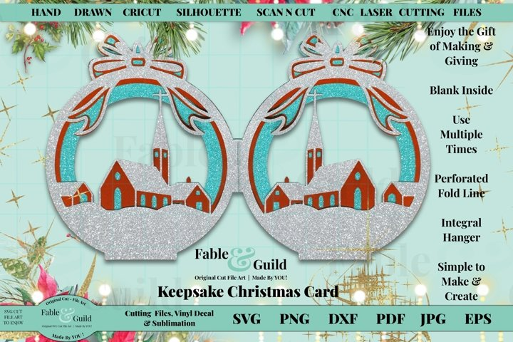 Scenic Christmas Card SVG 3D Multi Layered Bauble Cut File