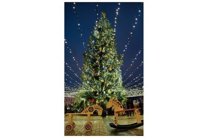 Christmas tree with colorful lights. City decorated.