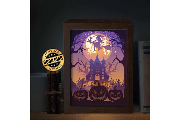 HALLOWEEN 3 3D Paper Cutting Light Box - Shadow Box