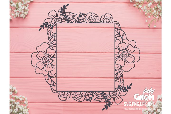 Floral Frame SVG, Rectangle Floral frame svg, Square Floral