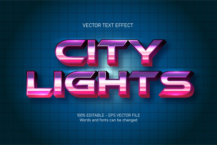 City lights text, futuristic style editable text effect
