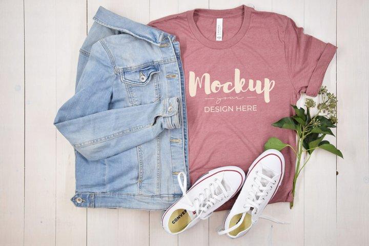Pink T-Shirt Mockup, Casual Shirt, BC 3100, Flat Lay