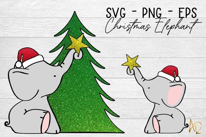Christmas Tree Elephant Sublimation Clip Art | SVG EPS PNG
