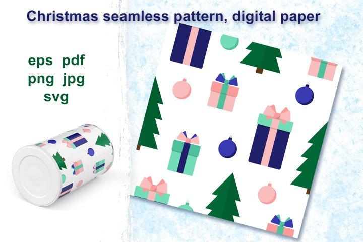 Christmas retro seamless pattern, digital paper.