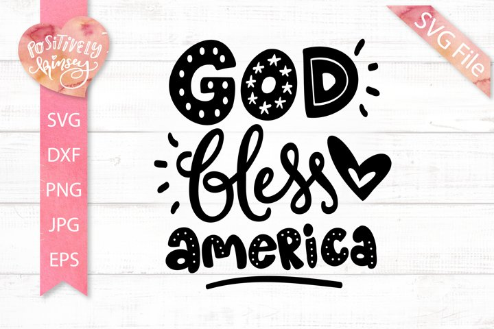 God Bless America SVG, Cute 4th of July SVG File for Shirts