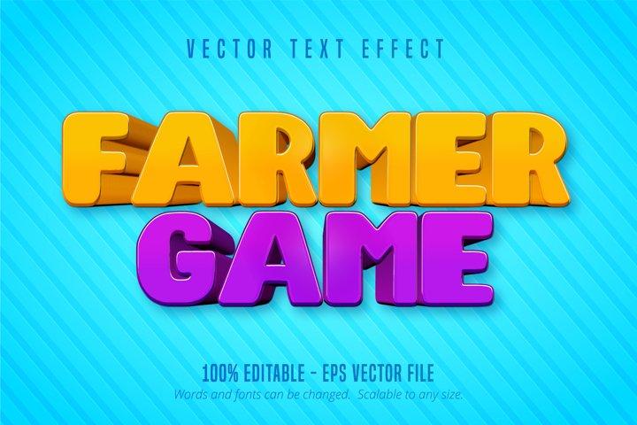 Farmer game text, cartoon style editable text effect