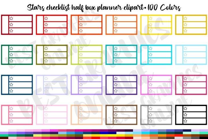 100 Notes half box planner stickers clipart, Stars checklist