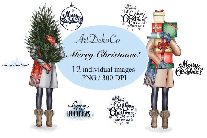 Christmas girl. Christmas clipart
