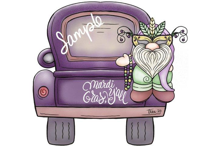 XL 12-inch- Mardi Gras Gnome & Pickup Truck Clip Art