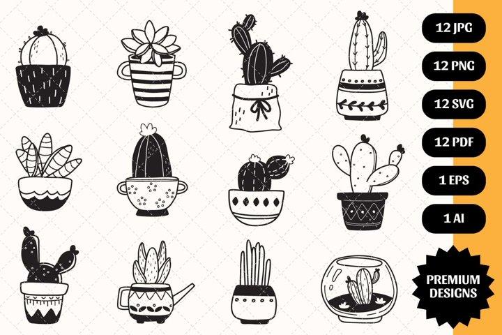 Cactus bundle SVG 12 designs Silhouette Clipart